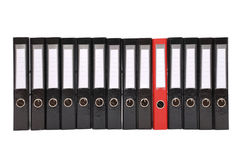 Many the big black folders on a white background. One red folder Stock Images