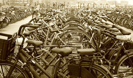 Many bikes parked Stock Photo
