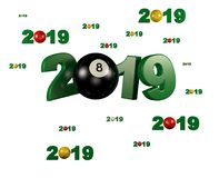 Many Billiard 8 Ball 2019 Designs with many Balls. On a White Background stock illustration