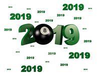 Many Billiard 8 Ball 2019 Designs. With a White Background vector illustration