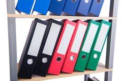 The many binder folders on the shelf Royalty Free Stock Photography