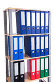 The many binder folders on the shelf Stock Photo