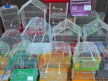Many Bird Cages For Sale. Many wire frame bird cages for ale at the Athens central markets, Greece Stock Photos
