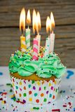 many birthday candles in cupcake Stock Photography