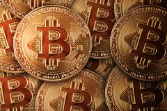 Many Bitcoins. Concept cryptocurrency in financial world. Royalty Free Stock Photos