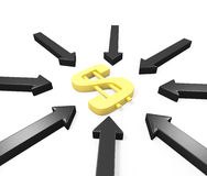 Many black arrows attack a golden dollar sign Stock Photography