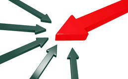 Many black arrows attack a huge red arrow Stock Photo