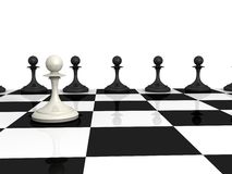 Many black and one white pawns on checkerboard Stock Photography