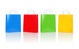 Many blank colorful shopping bags Stock Images