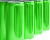 Many blank metal green cans on table, closeup. Mock up for design royalty free stock photos