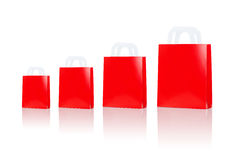Many blank red shopping bags Royalty Free Stock Image