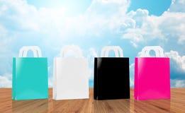 Many blank shopping bags stock photos