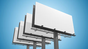 Many blank white billboards on blue background. 3D rendered illustration.  Stock Photo