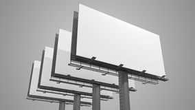 Many blank white billboards on gray background. 3D rendered illustration Stock Photos