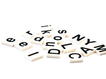 Many blocks of alphabets on white background Royalty Free Stock Photography