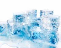 Many blocks of blue ice. Many blocks of ice on white background stock photos