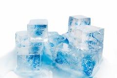 Many blocks of blue ice. Many blocks of ice on white background Royalty Free Stock Photo