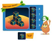 Many blocks game. Educational game for kids, puzzle. development of spatial thinking in children suitable both for kids and adults. Task game How many blocks stock illustration
