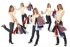 Many blondes with paper bags full body, collage Royalty Free Stock Image