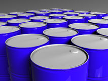 Many blue barrels. Three dimensional model Stock Photography