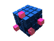 Many blue blacks. Red block coming out of many blue blacks Stock Photos