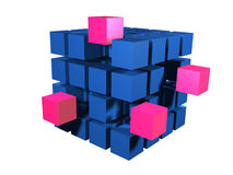 Many blue blacks. Red block coming out of many blue blacks stock illustration