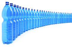 Many Blue Bottles of Water, Front View Royalty Free Stock Photography