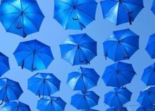 Many blue colorful umbrella street decoration over Royalty Free Stock Photos