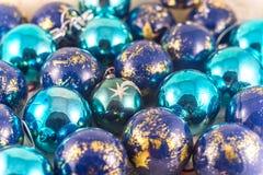 Many blue colorful Xmas balls Stock Photo