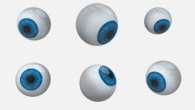 Many blue eyes balls rotation stock video