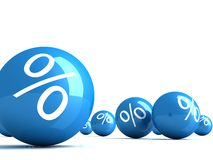 Many blue glossy spheres with percent signs Royalty Free Stock Images