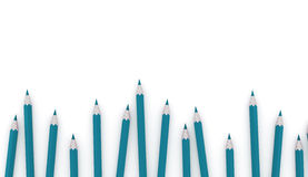 Many blue pencils rendered. On white background Royalty Free Stock Image