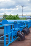 Many blue pipelines with stop-gate valves Royalty Free Stock Photography