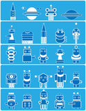 Many blue robots. Many cute blue robots with planets and spaceship. Cartoon Royalty Free Stock Images