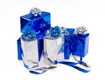 Many blue shiny boxes Stock Photo