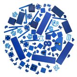 Many blue toys royalty free stock images