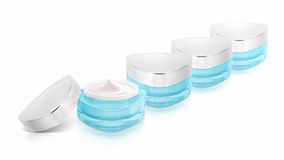 Many blue triangle cosmetic jar on royalty free stock photo