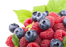 Many blueberries, raspberries.  white Royalty Free Stock Images