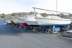 Many boat on storage for the winter Stock Images