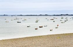 Many boat in water of English Channel in Brittany Stock Image