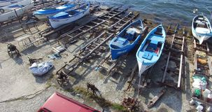 When many boats are already at sea. Pomorie, Bulgaria stock video footage