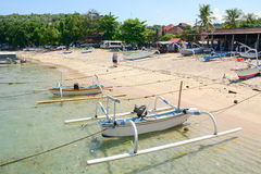 Many boats on the beach at Gili Air island in Lombok, Indonesia Royalty Free Stock Photos