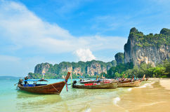 Many Boats On Beautiful Tropical Sand Beach Stock Images
