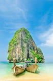 Many Boats On Beautiful Tropical Sand Beach Stock Image