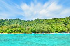 Many Boats On Beautiful Tropical Sand Beach Royalty Free Stock Photo