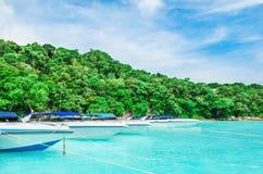 Many Boats On Beautiful Tropical Sand Beach Stock Photography