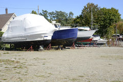 Many boats in dry dock Royalty Free Stock Image