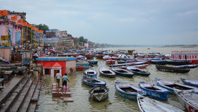 Many boats on the Ganges river in Varanasi, India Royalty Free Stock Photos