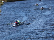 Many Boats make their way to the starting line in the Head of the Charles Regatta Stock Image