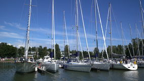 Many boats in the marina on the southern coast of Finland. stock video footage